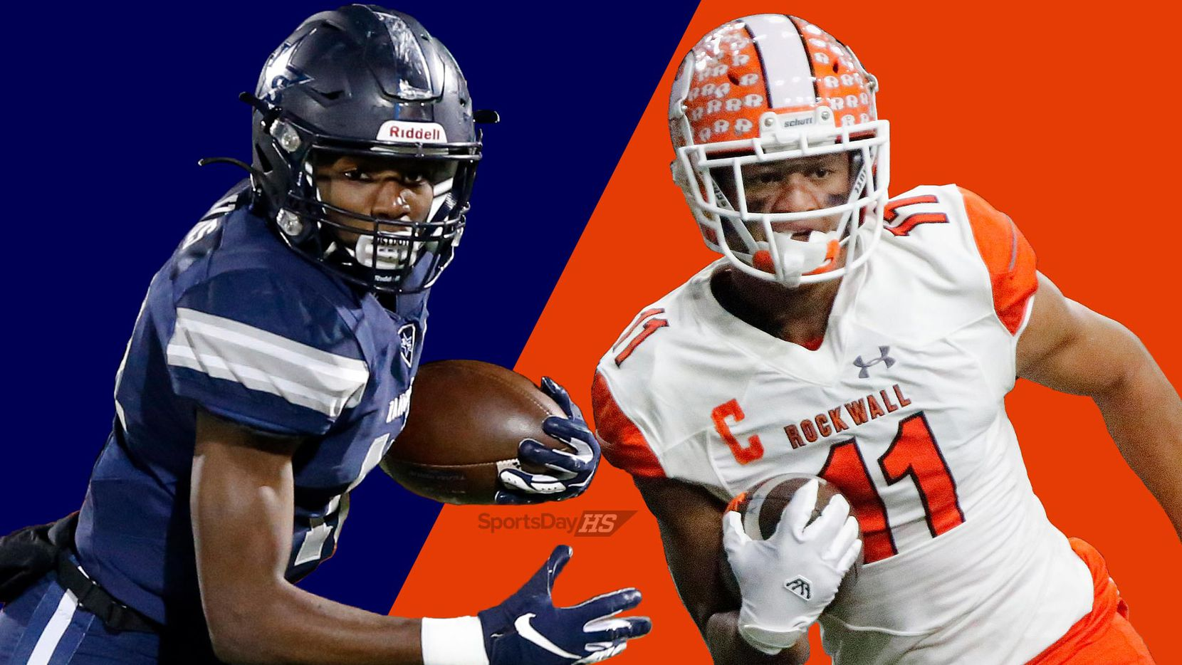 Frisco Lone Star wide receiver Marvin Mims (left) and Rockwall wide receiver Jaxon Smith-Njigba. (Tom Fox, Stewart F. House, Staff Illustration)