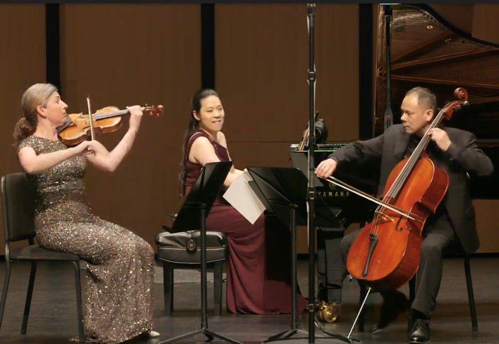Violinist Amy Schwartz Moretti, pianist Joyce Yang and cellist Bion Tsang perform in a Chamber Music International Concert at Moody Performance Hall in Dallas on May 15, 2021.