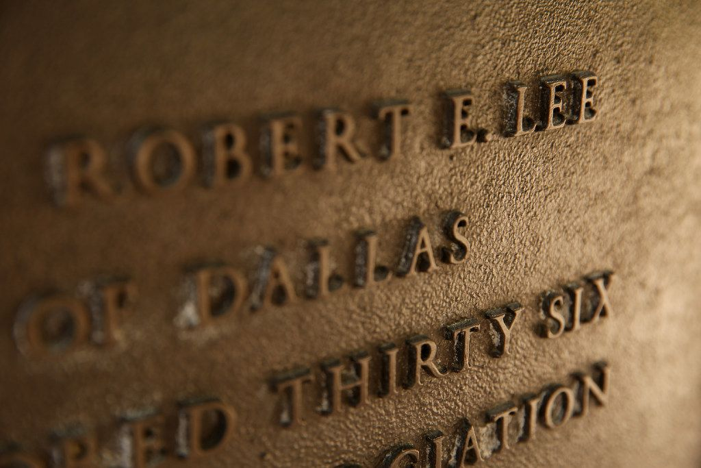 A detail of the plaque on the statue of Robert E. Lee in Oak Lawn.