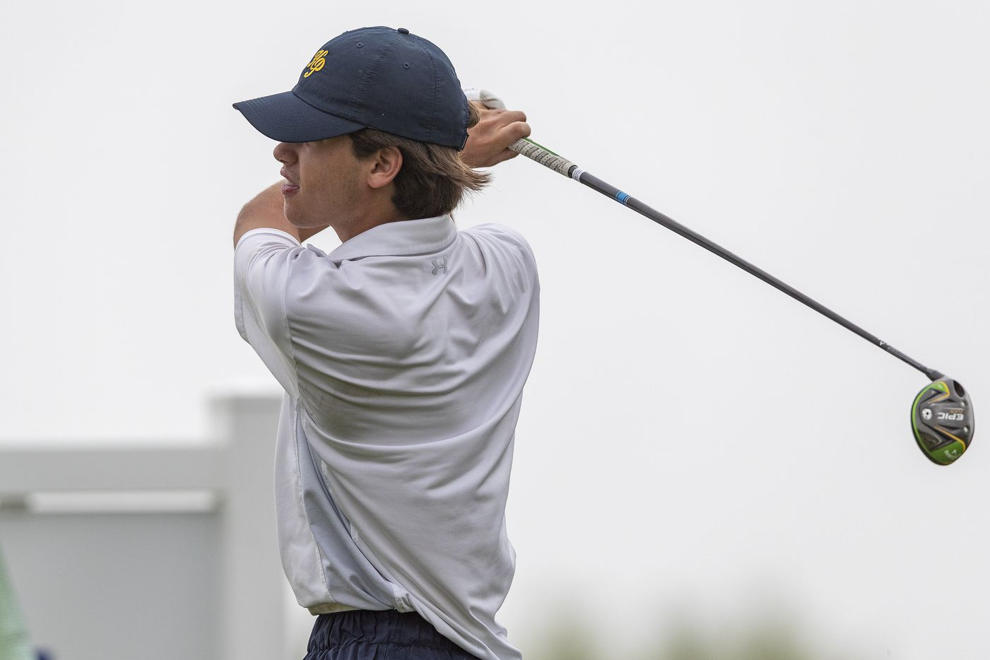 Highland ParkÕs Mack Duvall hits from the 10th tee box during round 1 of the UIL Class 5A boys golf tournament in Georgetown, Monday, May 17, 2021. (Stephen Spillman/Special Contributor)