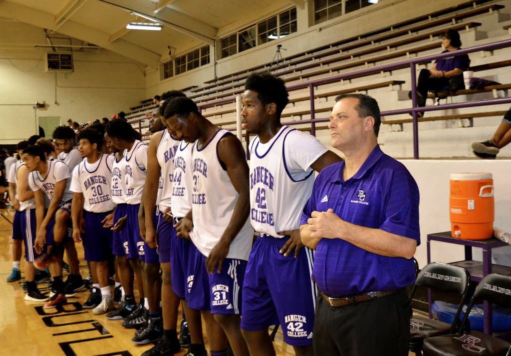 Billy Gillispie (far right) pictured at a Ranger College game during the 2015-16 season.