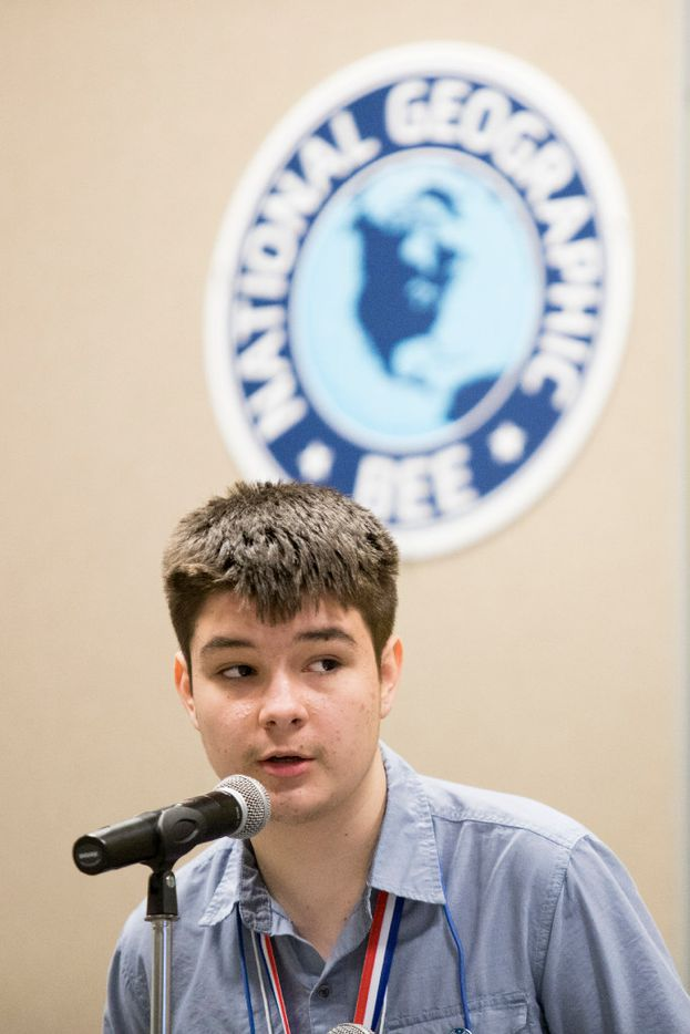 Christopher Vint answers a question during the final round of the bee. (Special Contributor/Andrew Buckley)