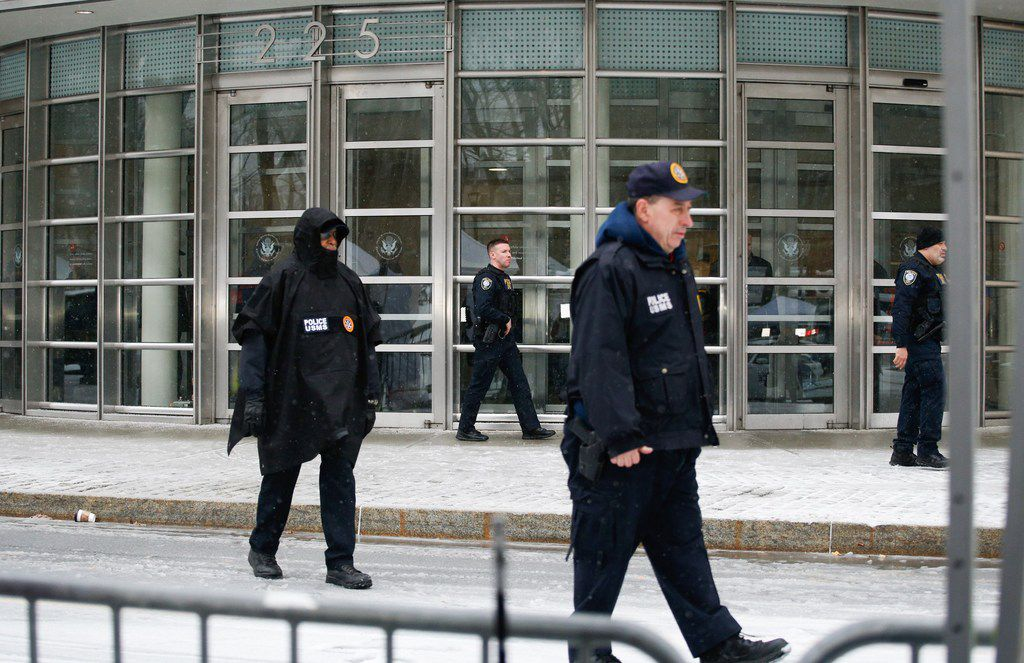 """Members of Homeland Security Service patrol outside the U.S. Federal Courthouse after a guilty verdict was announced at the trial for Joaquin """"El Chapo"""" Guzman on Feb. 12, 2019, in Brooklyn."""