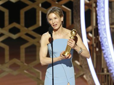 "Renée Zellweger accepts the award for best actress in a motion picture drama for her role in ""Judy"" at the 77th Annual Golden Globe Awards at the Beverly Hilton Hotel in Beverly Hills, Calif., on Jan. 5, 2020."