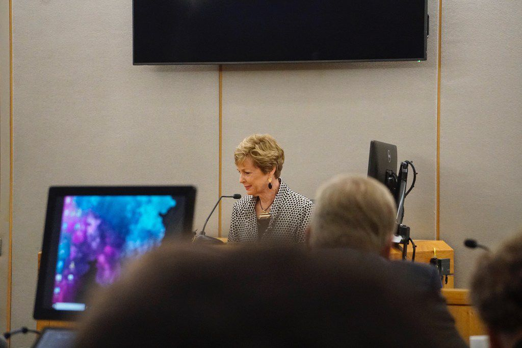 Sharon Callison gets emotional while testifying at the murder trial of Thomas Johnson at Frank Crowley Court House in Dallas, TX on Monday April 29, 2019. The former Texas A&M and Skyline High School football star was charged with murder in October 2015 after police said he killed 53-year-old runner Dave Stevens with a machete on White Rock Creek Trail. Ms. Callison and a friend encountered Thomas on the walking trail. (Lawrence Jenkins/Special Contributor)