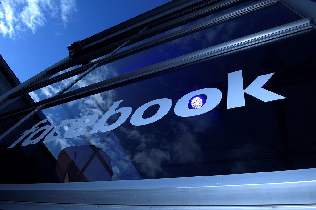 A Facebook logo is seen at the Facebook Innovation Hub in Berlin on February 24, 2016.