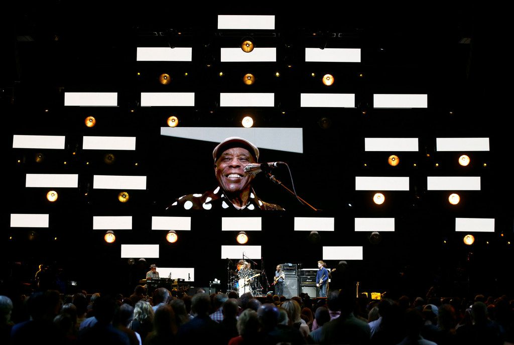 Buddy Guy flashes a smiley while performing at the Crossroads Guitar Festival on Saturday, Sept. 22, 2019 at the American Airlines Center in downtown Dallas. The concert put together by Eric Clapton, which benefits his Crossroads addiction recovery center, took place over two nights with different performers each night. (Michael Hamtil/The Dallas Morning News)