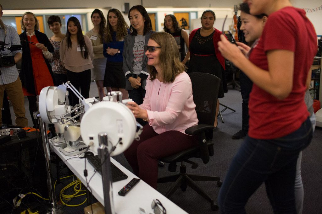 Melinda Gates with students at the Stanford AI Lab_Credit Gates Archive