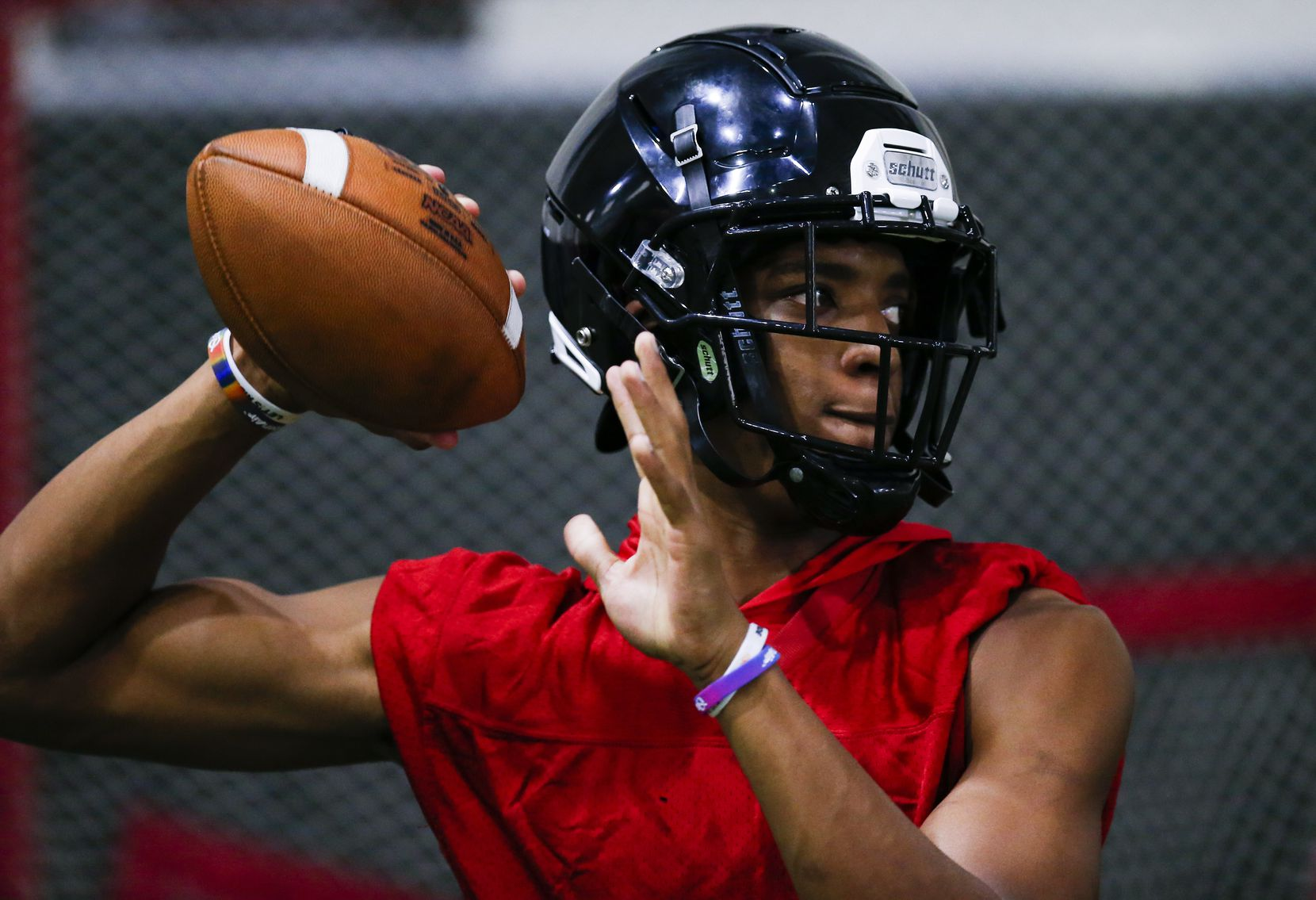 Euless Trinity senior running back and quarterback Ollie Gordon throws during a varsity practice at Euless Trinity High School, Monday, August 9, 2021. (Brandon Wade/Special Contributor)