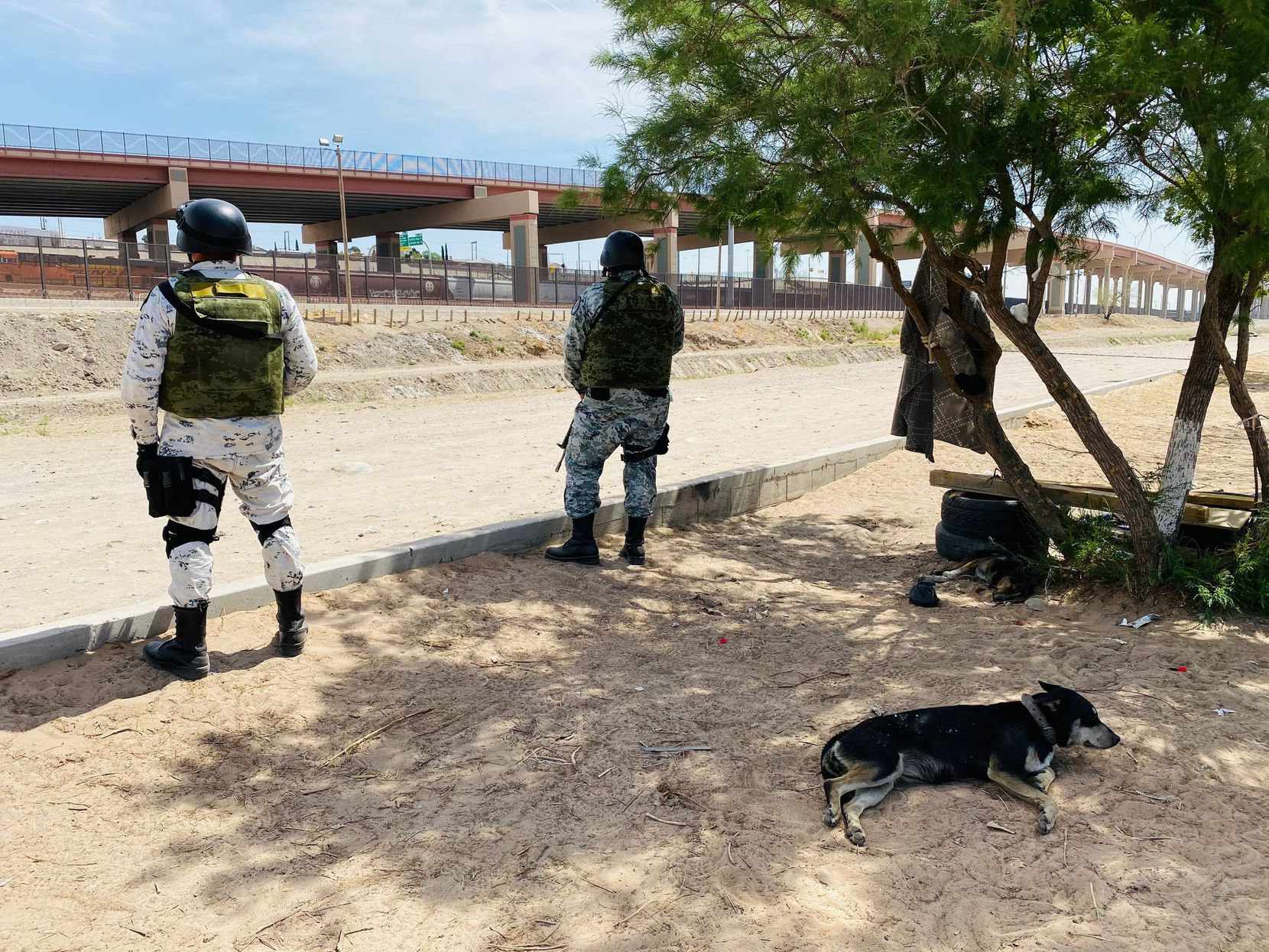 Mexico's National Guard has re-emerged with renewed focus on slowing the flow of migrants trying to reach the United States. These guardsmen stand across the border from El Paso's downtown this week.