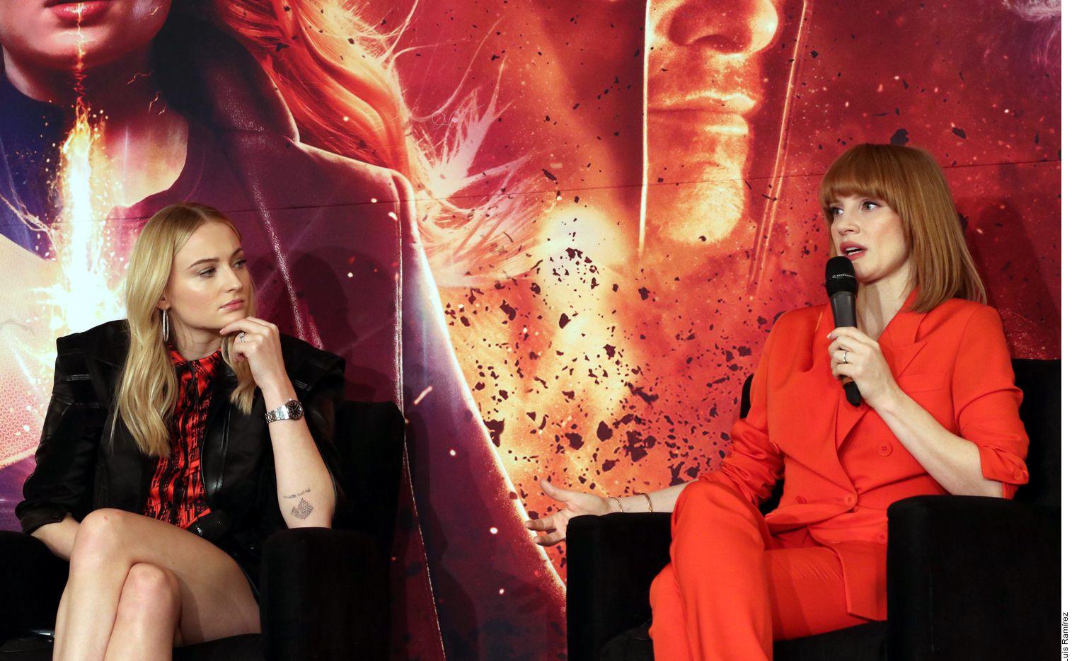 """Sophie Turner (izq.), estrella de la serie """"Game of Thrones"""", y Jessica Chastain (der.) están de visita en la Ciudad de México para promocionar """"X-Men: Dark Phoenix"""". (AGENCIA REFORMA)"""