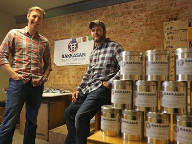 Brandon Friedman, left, and Terrence Kamauf have launched Rakkasan Tea Company in Dallas, which imports rare teas from post-conflict countries like Vietnam, Nepal, Sri Lanka and Rwanda.