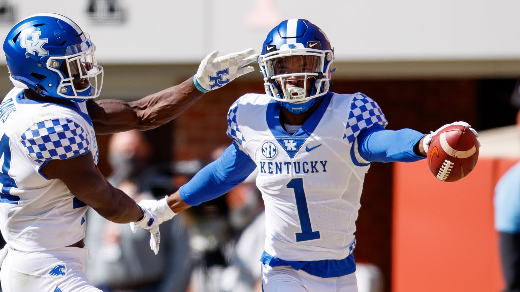 KNOXVILLE, TN - OCTOBER 17: Kelvin Joseph #1 of the Kentucky Wildcats celebrates a pick six against the Tennessee Volunteers at Neyland Stadium on October 17, 2020 in Knoxville, Tennessee. (Photo by /Collegiate Images/Getty Images)