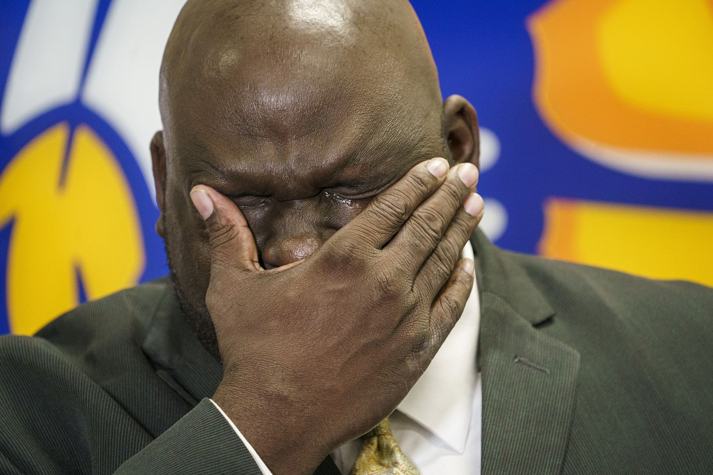 Community ISD superintendent Dr. Roosevelt Nivens wipes away tears while talking to the media about four students who were killed in a two-vehicle crash Tuesday at on State Highway 78 at Lake Road in the town of Lavon on Wednesday, Nov. 6, 2019, in Nevada, Texas.