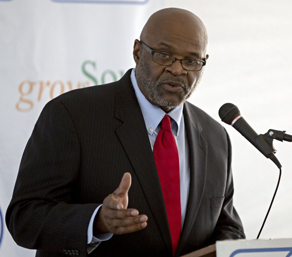 Sherman Roberts, president of City Wide Community Development Corp., speaks during a grand opening event at Serenity Place on Oct. 15, 2015, in Dallas.