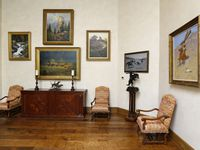 The centerpiece of the Christie's auction, Remington's The Signal (If Skulls Could Talk), is shown at the right hanging at The Lodge art gallery at T. Boone Pickens' Mesa Vista Ranch in the panhandle of Texas near the town of Miami in 2017.