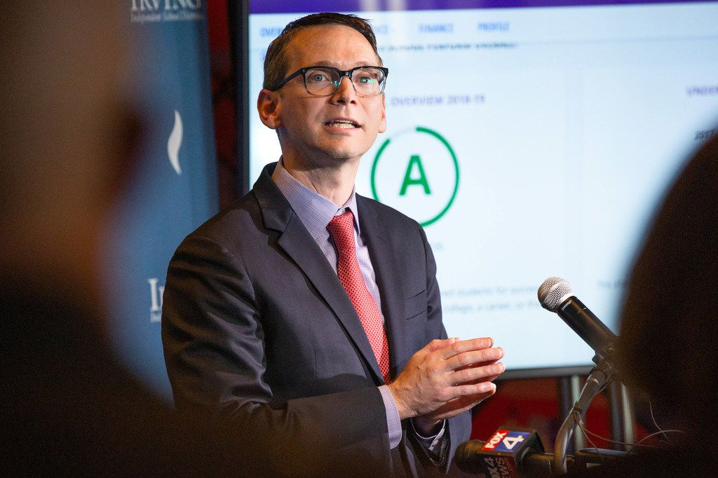 Texas education commissioner Mike Morath speaks to the media and educational leaders regarding the state's A-F accountability ratings at the Toyota Music Factory in Irving on Thursday, Aug. 15, 2019.