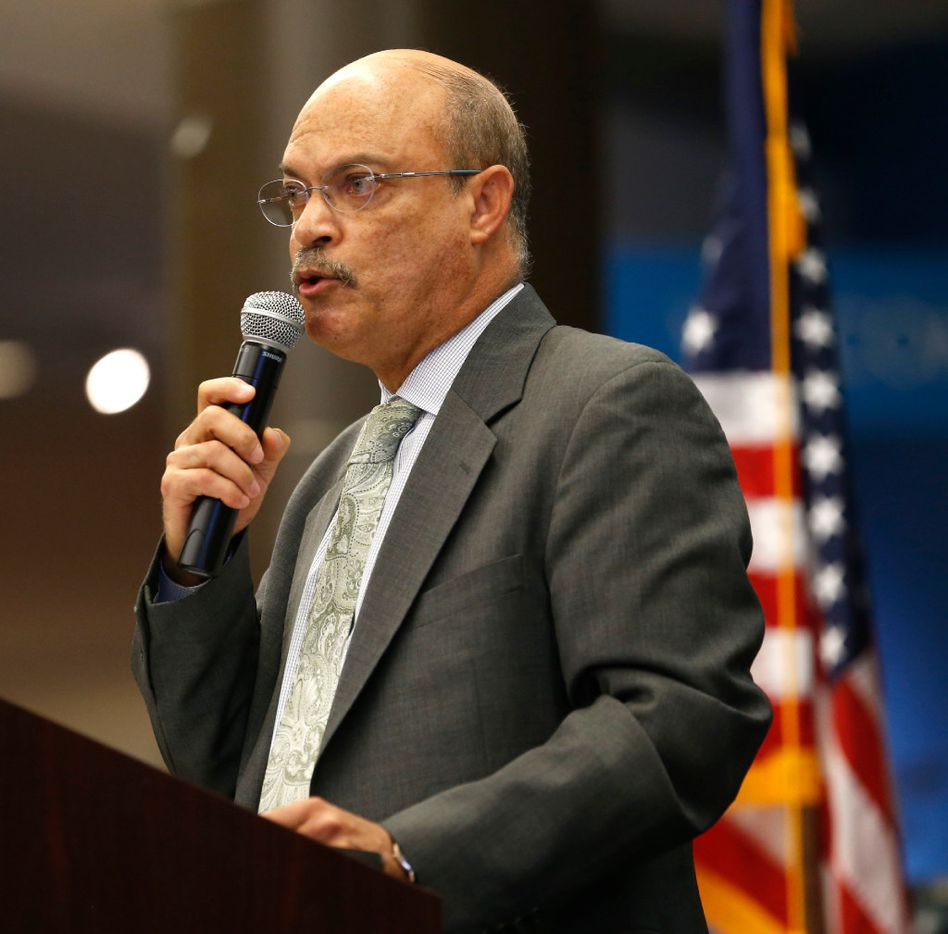 Jose Adames, president of El Centro College, speaks during the Renewal and Resilience Commemorative Ceremony to honor the fallen officers in the July 7, 2016 ambush at El Centro College in Dallas on Friday, July 7, 2017.