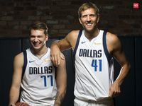 Dallas Mavericks Luka Doncic (left) and Dirk Nowitzki poses for a photo during Dallas Mavericks Media Day at the American Airlines Center in Dallas, Friday, September  21, 2018.