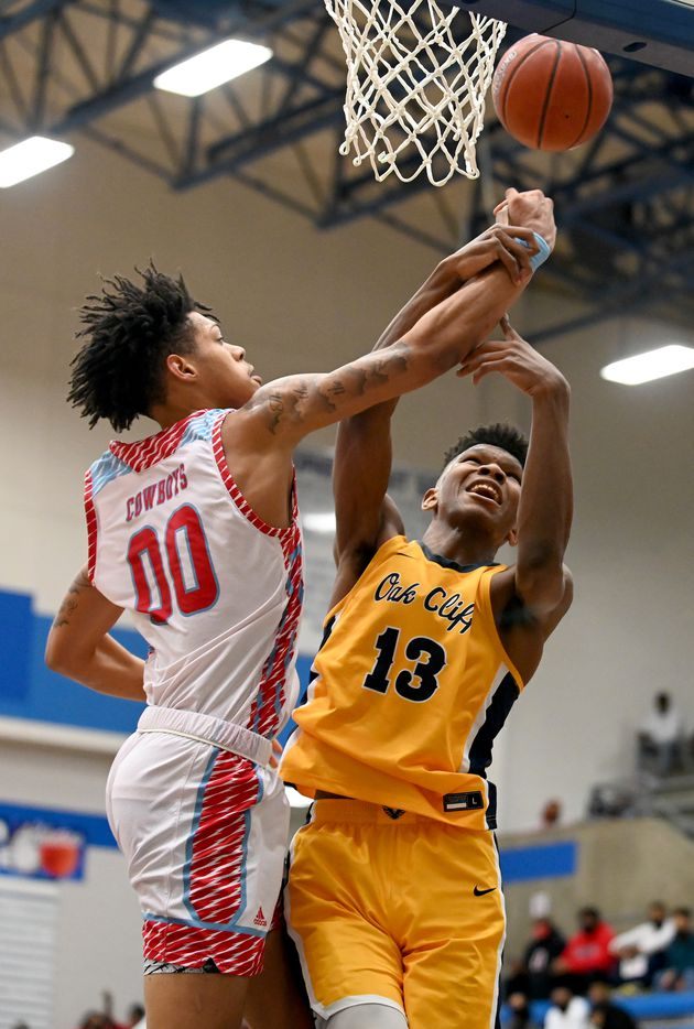 Faith Family's Mekhi Collins (13) goes up for a shot on Carter's Addarin Scott (00) in the second half during a Class 4A Region II final boys playoff basketball game between Dallas Carter and Oak Cliff Faith Family, Friday, March 5, 2021, in Grand Prairie, Texas. (Matt Strasen/Special Contributor)