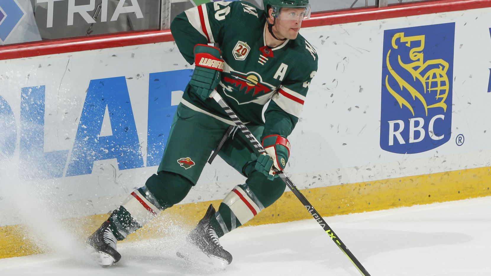 Ryan Suter #20 of the Minnesota Wild skates against the St. Louis Blues during the game at the Xcel Energy Center on May 1, 2021 in Saint Paul, Minnesota.