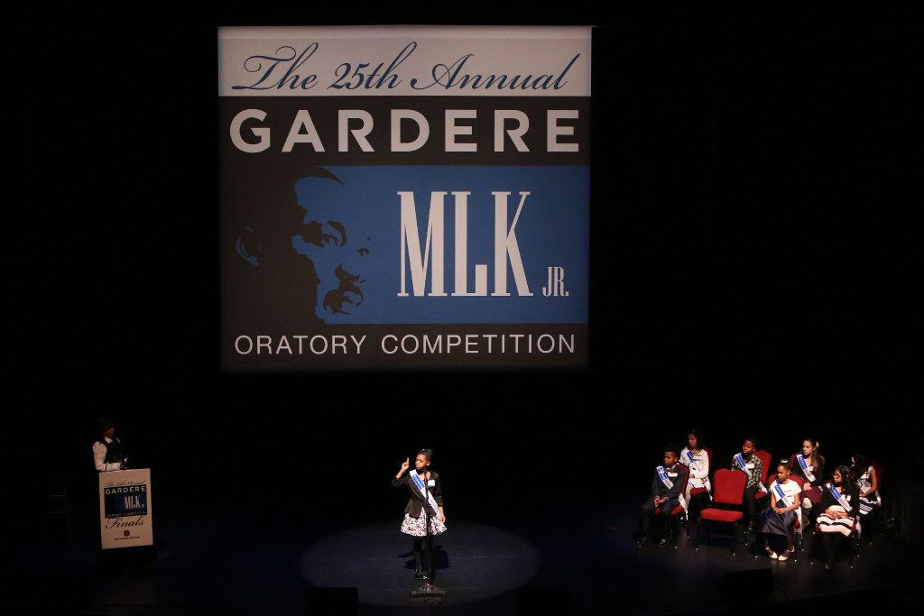 Sierra Jones, a fifth-grader at Charles Rice Learning Center, delivers her first place-winning speech during the 25th Annual Gardere MLK Jr. Oratory Competition at the Majestic Theatre in Dallas. (Rose Baca/The Dallas Morning News)