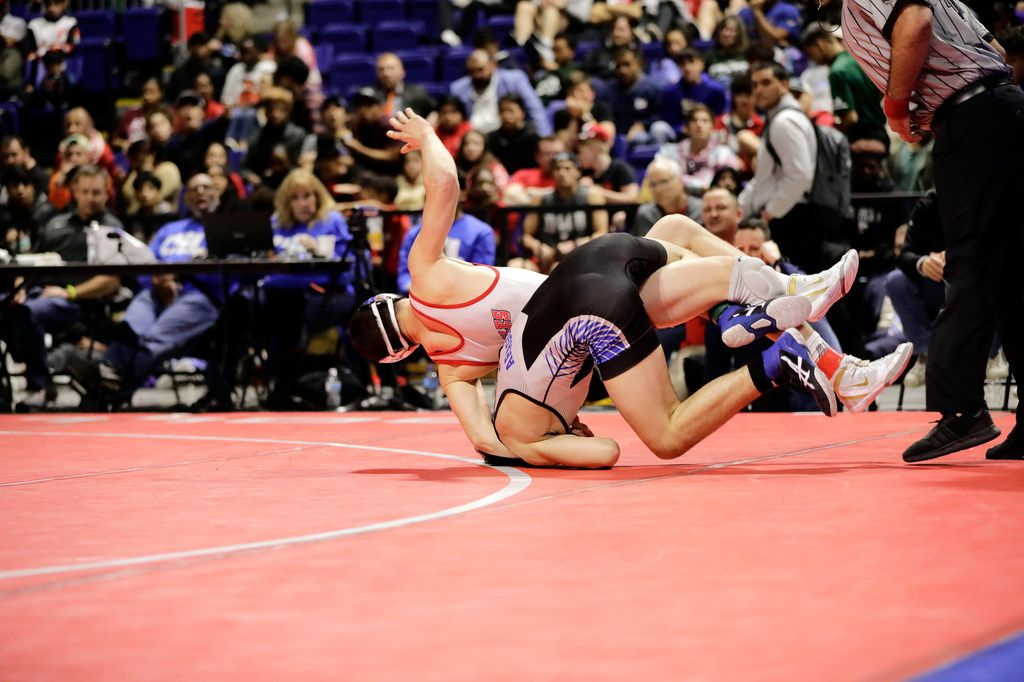 Mario Danzi of Allen wrestles during the UIL Texas State Wrestling Championships, Saturday, February 22nd, 2020, at the Berry Center in Cypress, Texas. Danzi won the match.  Todd Spoth/Special Contributor ORG XMIT: hswrestlinglede_0223spo
