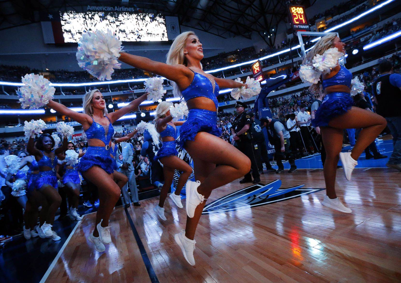 The Dallas Mavericks Dancers skipped onto the court for player introductions before the team faced the Memphis Grizzlies at American Airlines Center in Dallas on April 5.