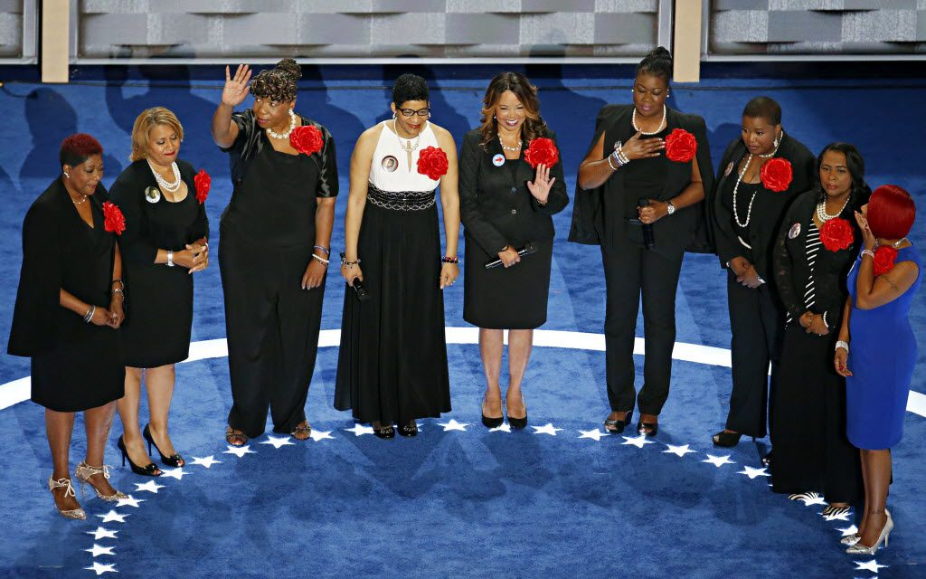 Mothers who have lost children to gun violence, part of the Mothers of the Movement group, spoke during the second day of the Democratic National Convention at the Wells Fargo Center in Philadelphia.