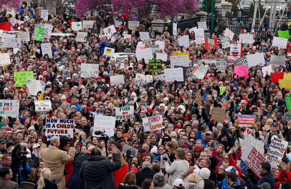 The crowd cheers during a teacher rally at the state Capitol in Oklahoma City, Monday, April 2, 2018. Teachers were holding separate protests in Oklahoma and Kentucky on Monday to voice dissatisfaction with issues like pay and pensions.
