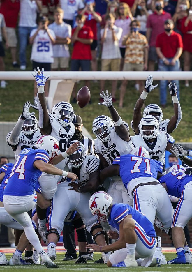 SMU place kicker Chris Naggar (34) hits a 43-yard game-winning field goal in the final seconds of a win over Memphis at Ford Stadium on Saturday, Oct. 3, 2020, in Dallas.