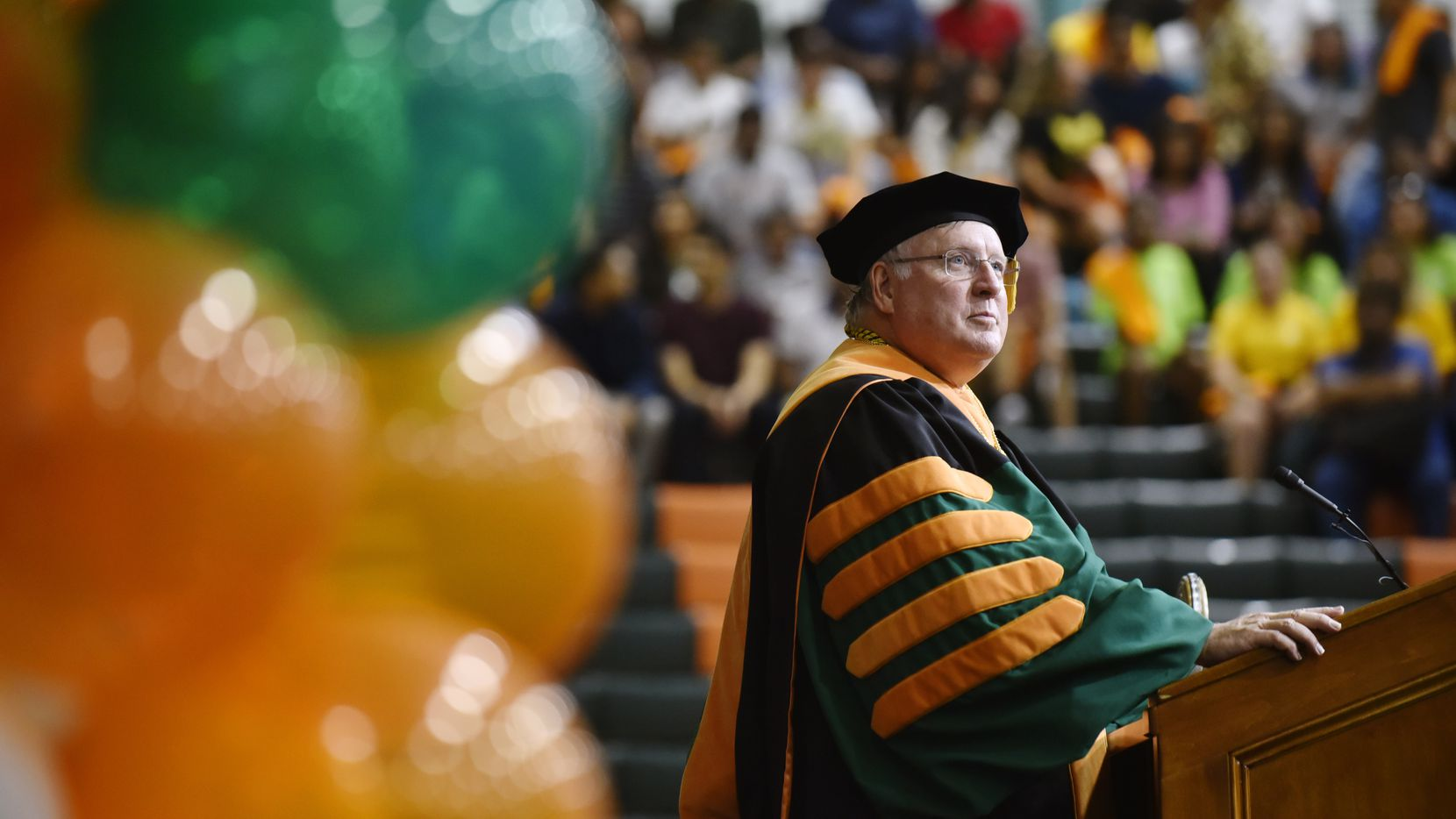 University of Texas at Dallas president Richard Benson, speaks during a new student convocation celebrating the 50th year of the university, Sunday Aug. 18, 2019 in Richardson.