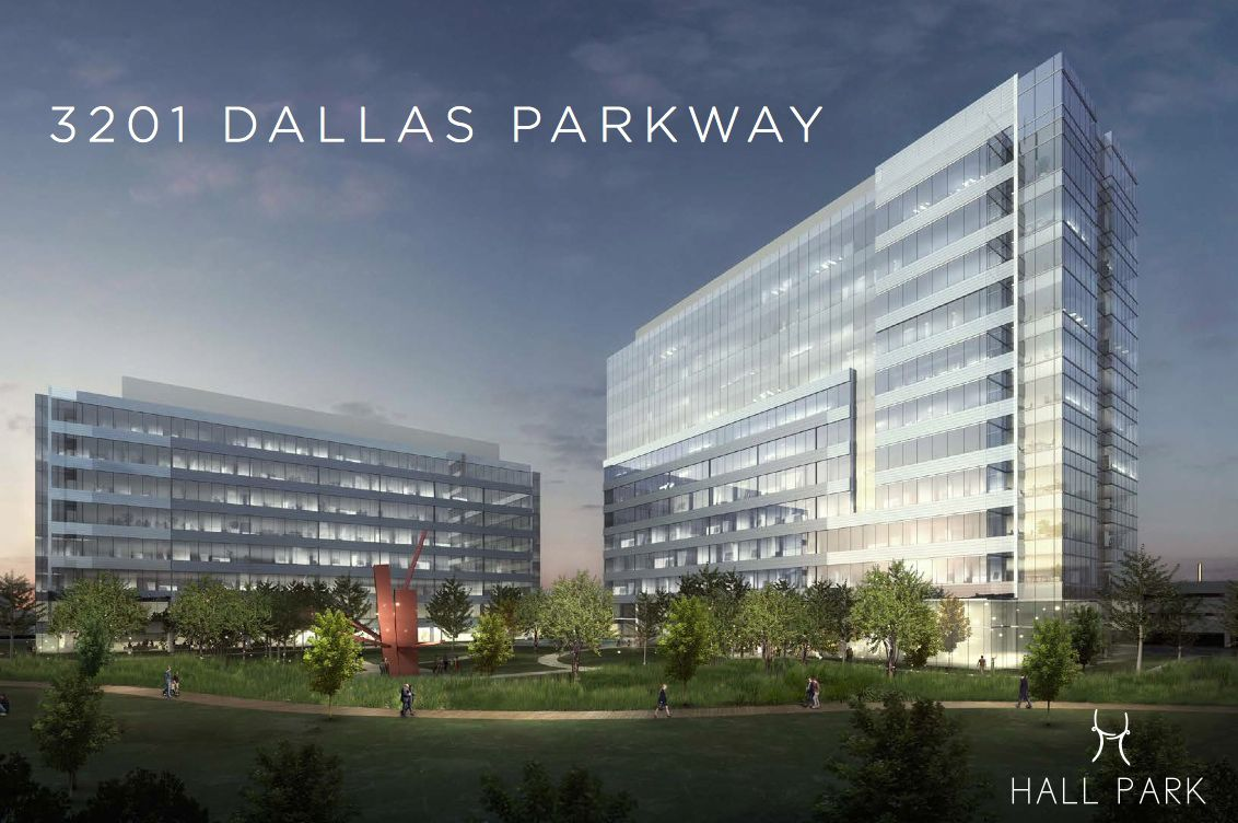 The 3201 Dallas Parkway building - on the right - will have 300,000 square feet.