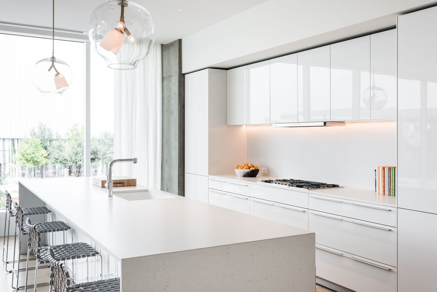 The model kitchen in the Hall Arts Residences building in downtown Dallas.