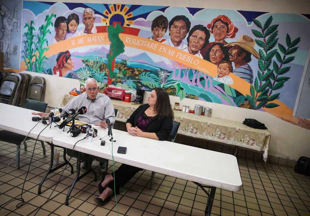 Ruben Garcia, left, the founder and executive director of Annunciation House, an El Paso nonprofit organization that has sheltered migrants for more than 40 years, speaks alongside Taylor Levy, Accredited Representative & Legal Coordinator for Annunciation House, during a press conference in El Paso, Texas, on Monday, April 1, 2019.