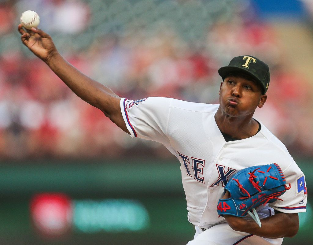 Texas Rangers starting pitcher Jose Leclerc (25) pitches during the top of the first inning of a matchup between the Texas Rangers and the St. Louis Cardinals at Globe Life Park on Friday, May 17, 2019 in Arlington, Texas. (Ryan Michalesko/The Dallas Morning News)