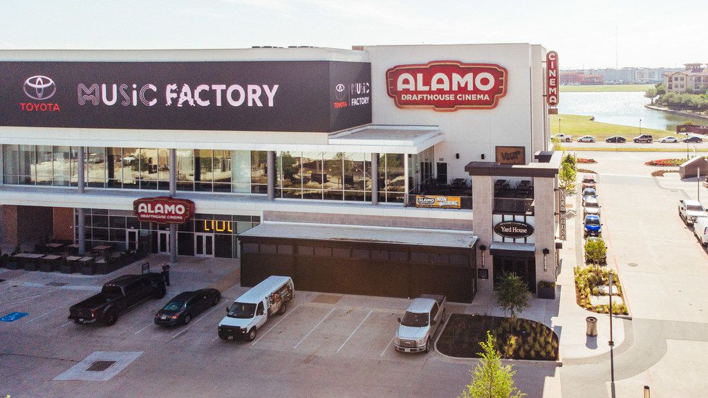 The exterior of the Alamo Drafthouse Las Colinas, part of the Toyota Music Factory entertainment complex.