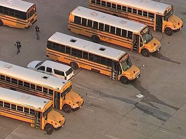 A stock photo of Keller ISD school buses.