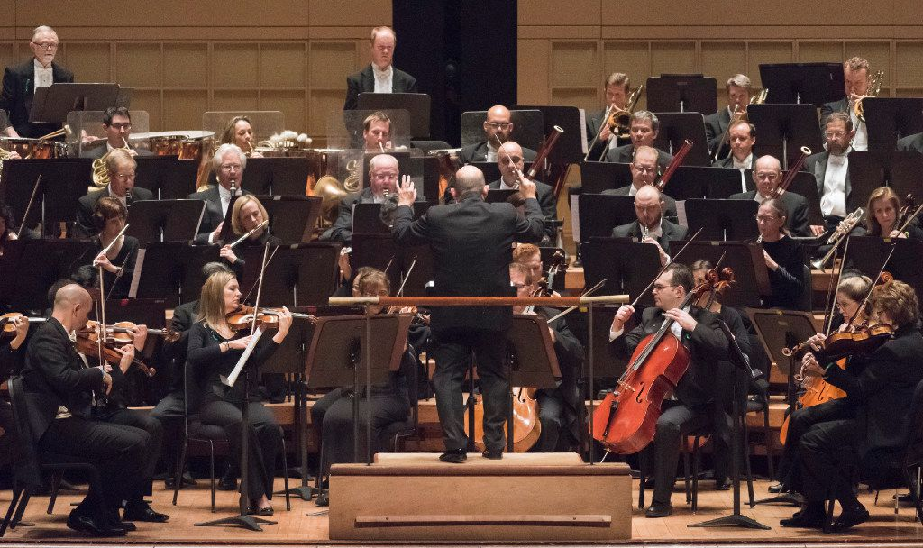 Conductor Jaap Van Zweden leads the Dallas Symphony Orchestra as they perform Christopher Rouse's Rapture at the Morton H. Meyerson Symphony Center in 2016.