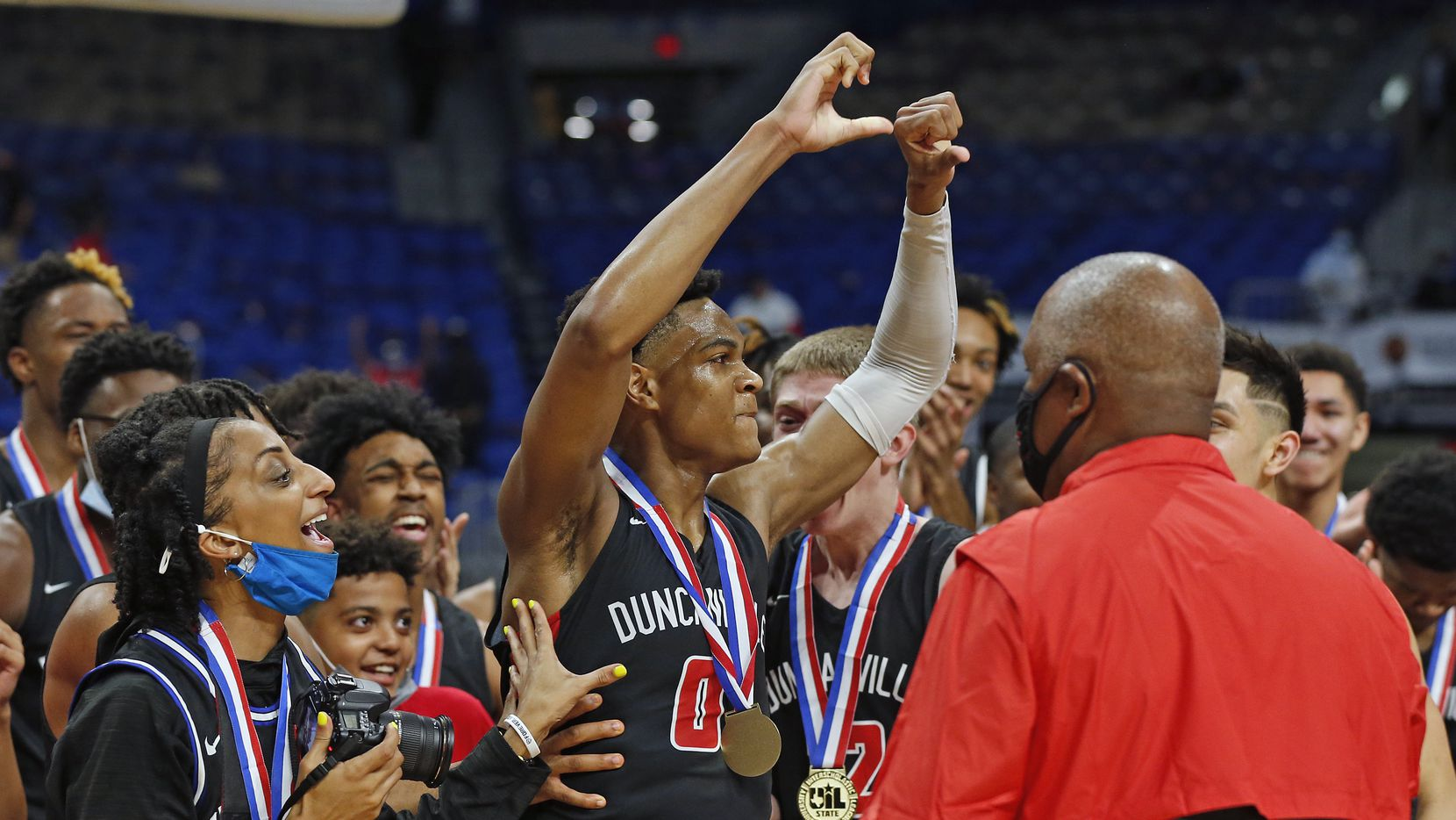 Duncanville Zhuric Phelps #0 reacts after receiving the most valuable player. UIL boys Class 6A basketball state championship game between Duncanville and Austin Westlake on Saturday, March 13, 2021 at the Alamodome.