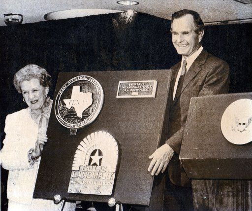 Vice President George H.W. Bush and Mrs. H. L. Hunt [Ruth Hunt ] unveil a plaque during the dedication of the Founders Square Building in Dallas.