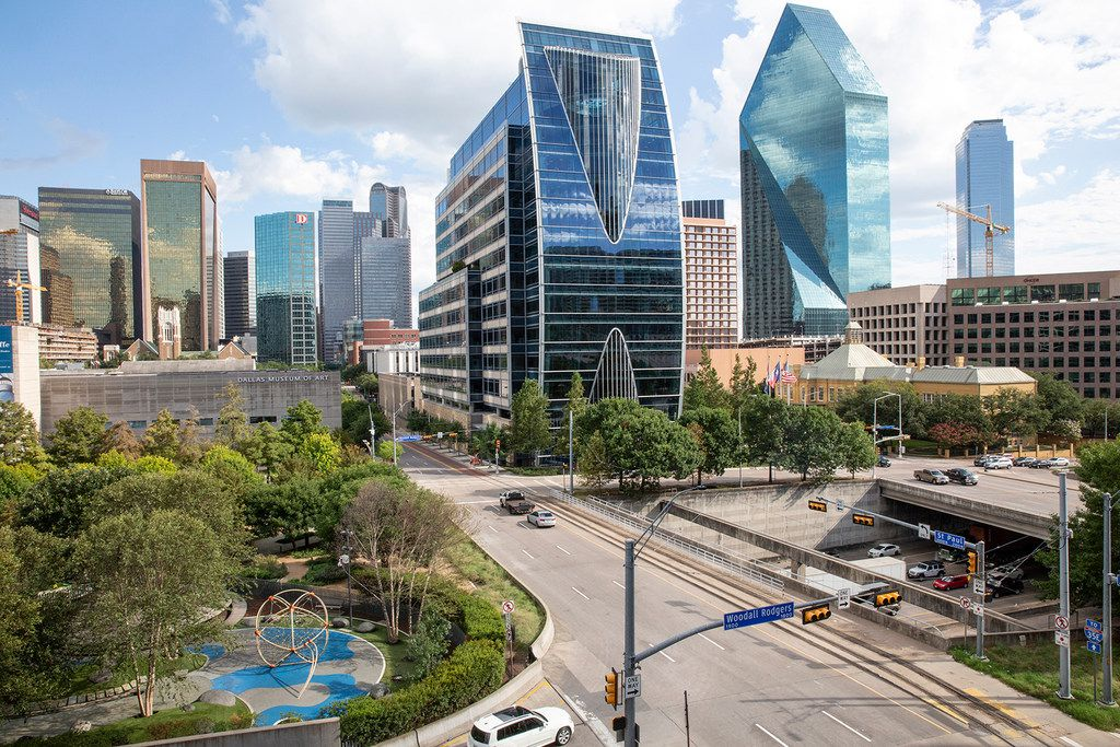 Klyde Warren Park, built on an elevated deck over Woodall Rodgers Freeway, which runs through downtown Dallas.