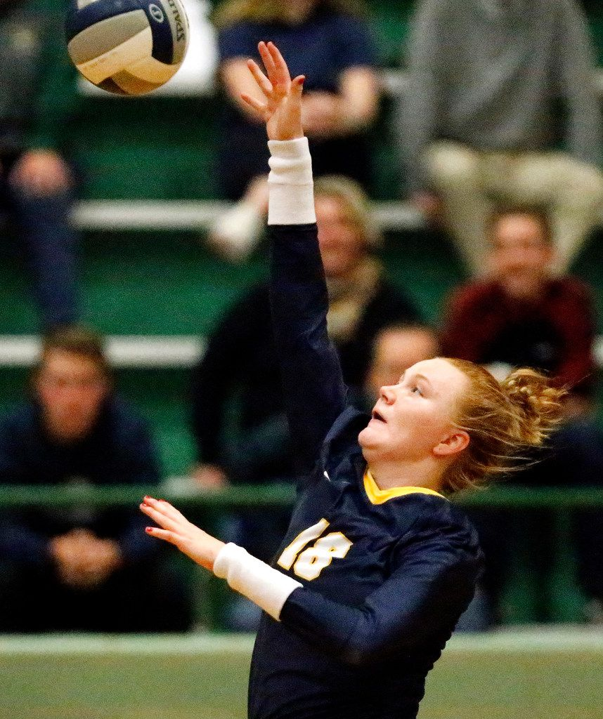 Highland Park High School outside hitter Kendyl Reaugh (18) makes a hit during game two as Lebanon Trail High School played Highland Park High School in a Class 5A Region II quarterfinal match played at Richardson Berkner High School on Monday night, November 12, 2019. (Stewart F. House/Special Contributor)