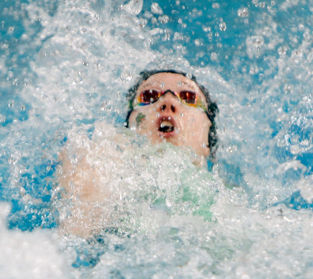 Southlake Carroll's Haley Hildebrand competes as the first leg of her school's 200 Yard Medley Relay team. Southlake prevailed with a winning combined time of 1:42.55. The UIL Class 6A state swimming and diving finals were held at the University of Texas' Lee and Joe Jamail Texas Swimming Center in Austin on February 15, 2020. (Steve Hamm/Special Contributor).