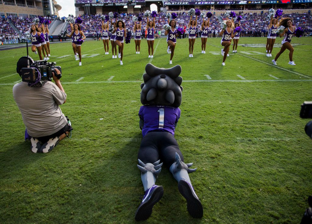 The TCU Horned Frog mascot watches the dance team perform between the third and fourth quarters of a college football game between SMU and TCU on Saturday, September 21, 2019 at Amon G. Carter Stadium in Fort Worth.