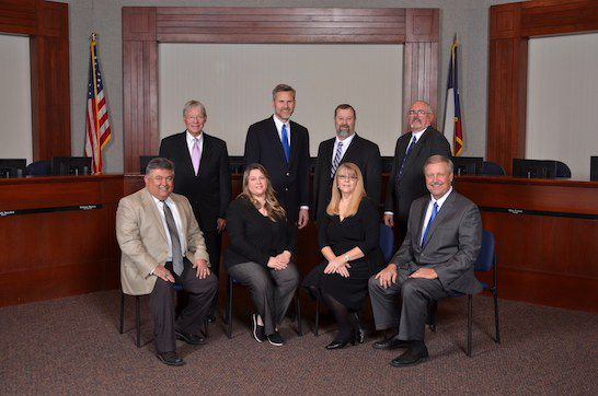 Randy Armstrong (front row at right) has been school board president since 2012. He's expected to resign by Dec. 31, 2019, so he can keep his day job in the appraisal district. Three of the board members, including Armstrong, were apparently elected improperly when their names were not listed on the election ballot.