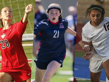 From left to right: Flower Mound Marcus' Kelly Van Gundy, Allen's Anna Reysa and Coppell's Jocelyn Alonzo.