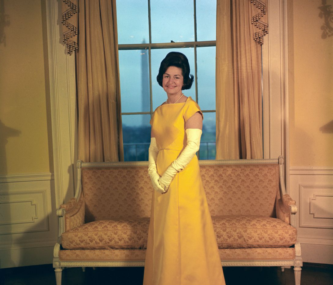 This Jan. 1965 photo provided by the LBJ Library shows Lady Bird Johnson at the White House during the inauguration.