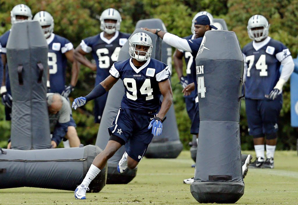Dallas Cowboys defensive end Randy Gregory runs a drill during a minicamp for rookie players Saturday, May 9, 2015 at the team's Valley Ranch practice facility in Irving, Texas. (G.J. McCarthy/The Dallas Morning News) 05102015xSPORTS
