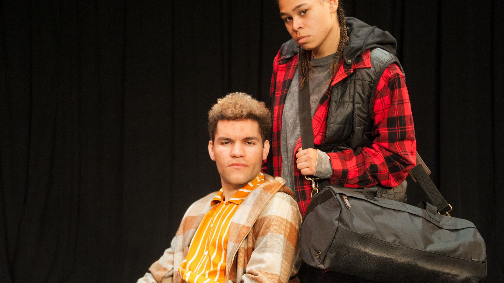 """Homeless teens Angelo (Dominic Pecikonis), left, and Mila (J Davis-Jones) meet no-so-cute in an LGBTQ homeless shelter in playwright Emilio Rodriguez's """"Swimming While Drowning."""" Cara Mia Theatre Co. is giving the play its Dallas premiere."""